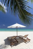 Lounge Chairs on Tropical Beach  Maldives  Indian Ocean  Asia