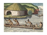 Florida Indians in Boat  Transporting Harvest
