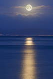 Full Moon over the Mumbles  Swansea  Wales  United Kingdom  Europe