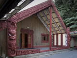 Carved Meeting House Te Tumu Herenga Waka on Marae at Victoria University