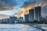 Late Afternoon Light over the High Rise Hotels of Waikiki Beach