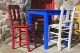 Table and Chairs in Bodrum  Turkey  Anatolia  Asia Minor  Eurasia