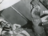 American Bombardier with His Hand on the Bomb Release over Germany in 1943
