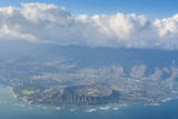Aerial of the Diamond Head and Oahu  Hawaii
