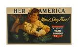 American World War 2 Poster  'Her America Must Stay Free! Buy War Bonds