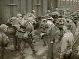 General Dwight Eisenhower Greets Gi's Loaded Down with Full Packs as They Arrive at a French Port