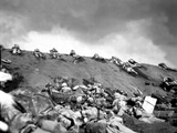 5th Division Marines Crawl Up a Slope on Red Beach No 1 Toward Mt Suribachi on Iwo Jima