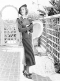 Loretta Young in Dark Blue and White Striped Dress Covered by a Soft and Silvery Fuzz