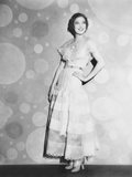 Loretta Young in Pink Organdy Dress with High Waist Line Belt
