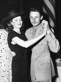 Gene Tierney (Left) Dancing with Husband Lieutenant Oleg Cassini