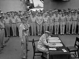 Douglas Macarthur Signs Documents During Japanese Surrender Ceremonies on the USS Missouri in Tokyo