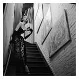 Actress in Evening Gown On Stairway  1950