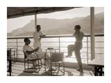 Jeunes Gens Sur le Pont D'Un Bateau Dans la Baie de Monte Carlo  1920