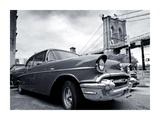 Vintage Car Parked by City Bridge