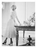 Woman Modeling White Dress  1950