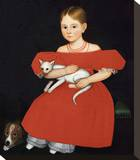 Girl in Red Dress with Cat and Dog  1830-1835