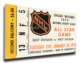 1974 NHL All-Star Game Mega Ticket  Blackhawks Host - MVP Garry Unger