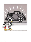 Mickey and Minie Looking at a Rolls Royce Reproduction d'art