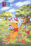 Winnie the Pooh and Piglet with Butterflies
