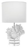 White Coral And Crystal Lamp With White Sueded Shade*