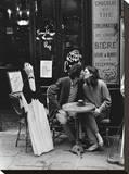 Kissing at Cafe Table  Paris