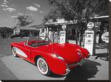Red 1957 Corvette at Vintage Gas Station