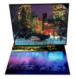NYC  Central Park Snow and Plaza Hotel & Niagara Falls with Blue Light  NY Set