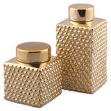 Amber Gold Mettalic Lidded Jar Set