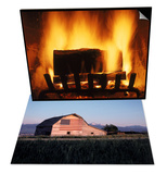 Log Burning in Fireplace & Barn with US Flag  CO Set