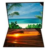 Beach and Palm Trees  Oahu  HI & Sunset on the Ocean with Palm Trees  Oahu  HI Set