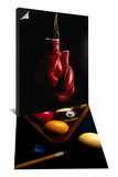 Hanging Boxing Gloves & Billiard Balls  Chalk  Cue  and Rack on Table Felt Set