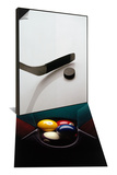 Hockey Stick and Puck & Pool Balls in Corner Pocket Set