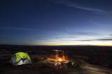 Night Camping Scene with Lit Up Tent and Campfire Moab  Utah