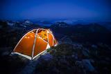 Four Season Tent Set Up with Christmas Lights in Mount Rainier National Park  Washington