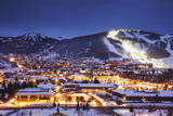 Winter Cityscape of Park City Mountain Resort and Deer Valley Resort  Utah