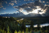 Grand Tetons  Wyoming: Snake River with the Sun Setting over the Grand Tetons in the Background