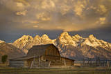 The Moulton Barn on Mormon Row Stands before a Fiery Sunrise in Grand Teton National Park  Wyoming