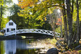USA  Maine  Somesville White House and Curved Bridge over a Pond