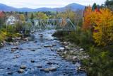 USA  New Hampshire  Bethlehem Train Bridge over River in Fall