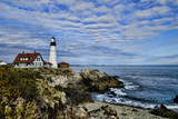 USA  Maine  Portland Portland Headlight Lighthouse on Rocky Shore