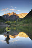 Angler Geoff Mueller Fly Fishing on a Lake in Maroon Bells Wilderness  Colorado