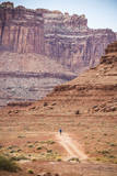Male Endurance Cyclist Rides Mountain Bike on White Rim Trail in Canyonlands National Park  Utah