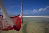 A Red Hammock Spread Out by the Wind Swings Above the Water During Low Tide  Hobox Island  Mexico