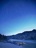 Star Trails over the Fraser River and Raft Camp  British Columbia  Canada