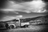 Black and White Photo of a Vintage Truck in a Rural Field in Wyoming