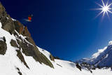 A Young Male Skier Drops Huge Air in the Mount Baker Backcountry on Mount Herman