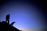 Man and Dog Backpacking Near Lake Tahoe  California
