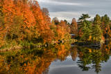 USA  Vermont  Morrisville Lake Lamoille Reflecting Fall Foliage