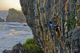 A Young Male Climber Ascends the Coastal Route: Kuda Laut a 511A in Siung Beach