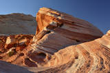 Sunset at Fire Wave Rock Formation in Valley of Fire Sp  Nevada  USA
